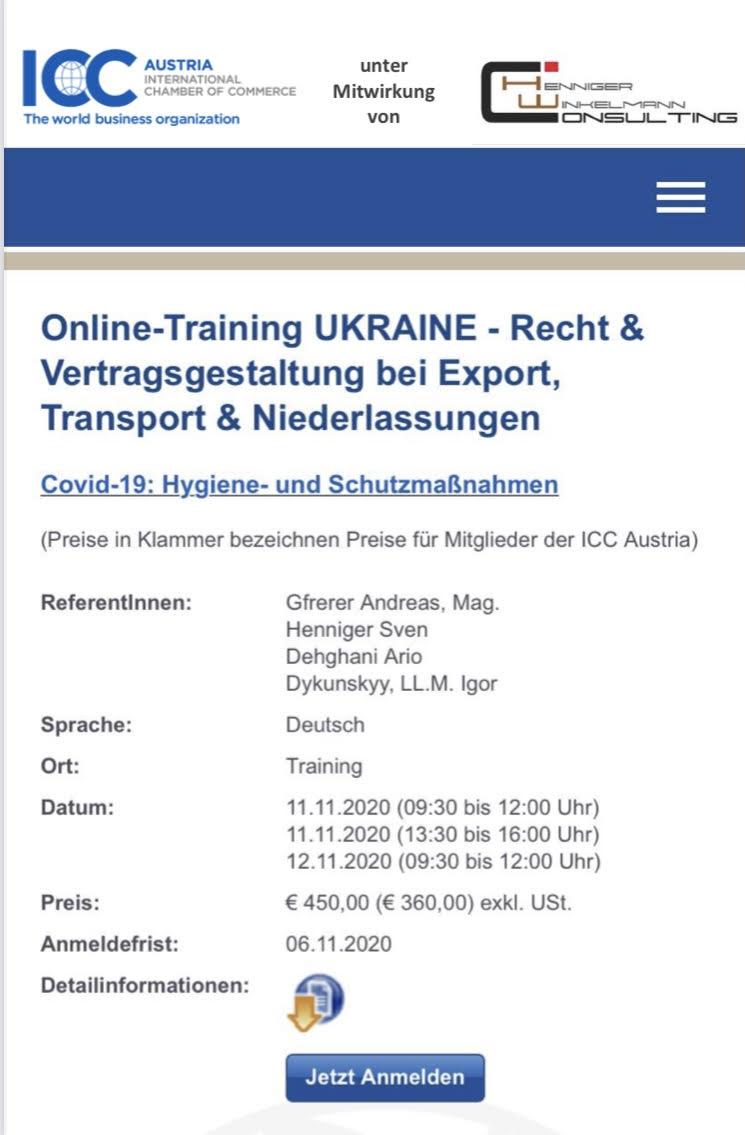 ICC Online-Training UKRAINE unter Mitwirkung von HWC