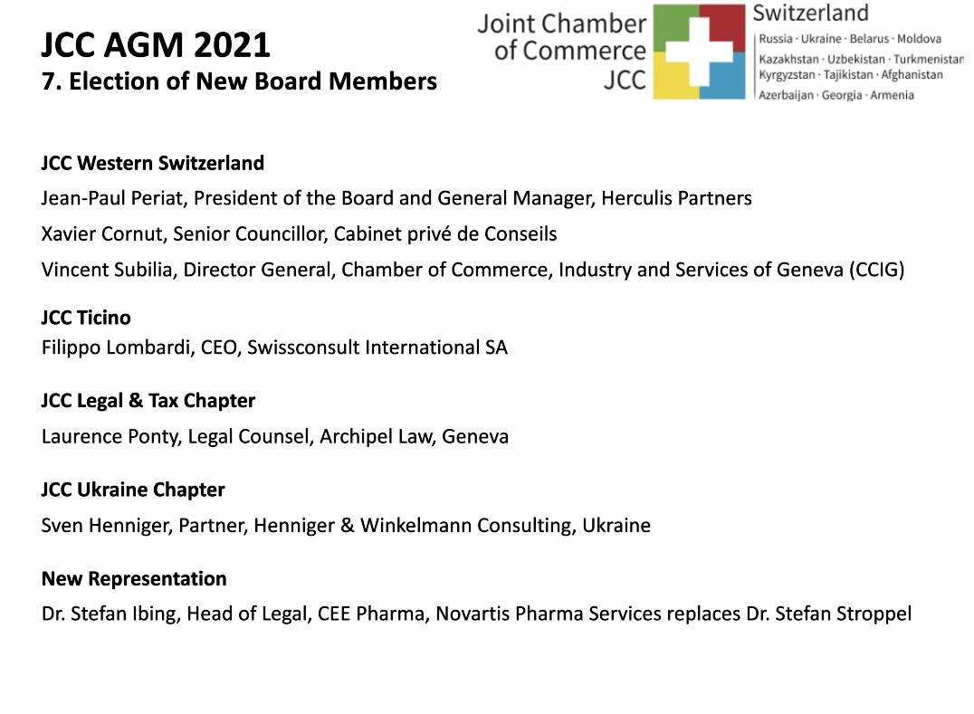 Vorstandswahlen des Joint Chamber of Commerce