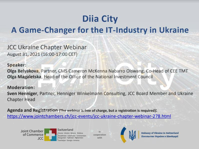 """JCC Webinar: """"Diia City – A Game-Changer for the IT-Industry in Ukraine"""""""